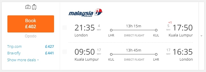 Cheap Flights To Kuala Lumpur From Only 402