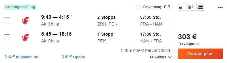 Fly from Frankfurt to Hanoi (Vietnam) for €303 (rt)