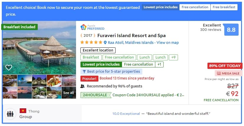Hot A 5 Resort In Maldives For Less Than 100 Euros Night